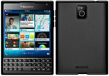 Amzer Exclusive Pudding Matte TPU Case Back Cover For BlackBerry PASSPORT -Black