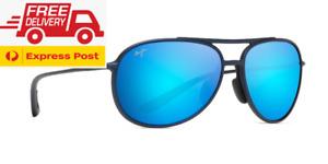 Maui Jim Alelele Bridge POLARIZED Sunglasses - Matte Black Blue Hawaii B438-03M