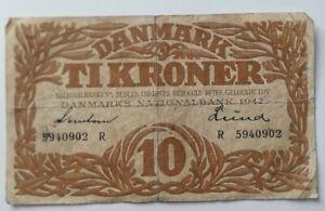 Denmark 10 Kroner Banknote 1942