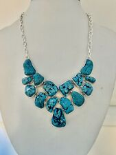 Turquoise & Silver Overlay CLUSTER Necklace 40.6cm Gemstone Jewellery