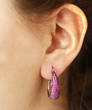 STERLING 925 SILVER  MICRO-PAVE PINKISH RED RUBY & ROSE GOLD EARRINGS