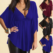 Fashion Womens Casual V-neck Batwing Short Sleeve Tops Blouse T-shirt Plus Size