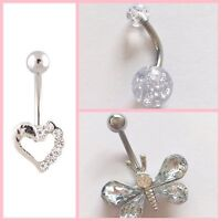 Sets/ choose Belly bars bar navel ring body piercing crystal surgical steel 316L