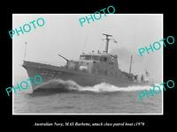 OLD 8x6 HISTORIC PHOTO OF AUSTRALIAN NAVY HMAS BARBETTE PATROL BOAT c1970 1