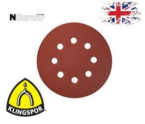 Klingspor Sanding Discs 125mm 8 holes orbital pads 5'' Sandpaper Grits 40-600