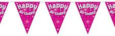 Pink Foil Holographic Happy Birthday Flag Bunting Decoration 12.8ft Long - New