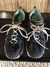 Sketchers Memory Foam Women Shoes Gray Blue white leatherSneakers 8.5 M