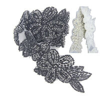 1yd Silver/Black Flower Crystal Rhinestone Trim Sew/Iron on Applique For Wedding
