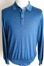 $1680 STEFANO RICCI Blue Lightweight Thin Cashmere Silk Polo Sweater 52 Large