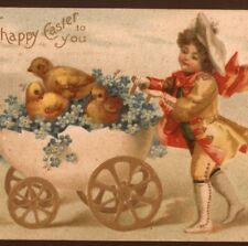 Clapsaddle. Victorian Easter Boy Pushes Chicks,Egg Buggy,Chromolith Postcard
