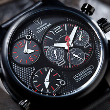 DETOMASO Casabona Mens Wrist Watch XXL Multifunction Black Stainless Steel New