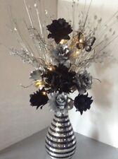 Artificial Silk Flower Arrangement Silver & Black In Mirror Silver Vase