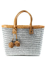 Tory Burch Straw Woven Open Tote Handbag Brown Silver