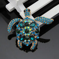 Blue Turtle Brooch Pin Fashion Charm Rhinestone Crystal Brooch Pin JewelryWYB