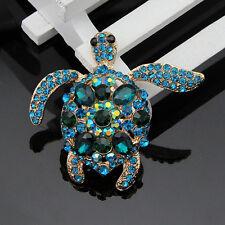Fashion Charm Rhinestone Blue Turtle Brooch Pin Crystal Brooch Pins Jewelry WF