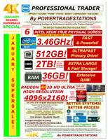 8-MONITOR TRADING COMPUTER 4K! XEON 3.46GHz! 512GBSSD! 2TBHDD DVDRW W10P DESKTOP