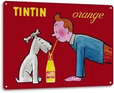 Tintin Orange Drink Soda Pop Advertising Vintage Retro Wall Decor Metal Tin Sign