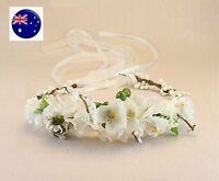 Women wedding White Flower bride Party Hair Headband Crown Prop Garland Wreath