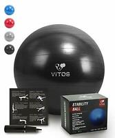 Anti Burst Stability Ball By Vitos Fitness | Non Slip Supports 2200LB
