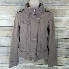 Express Size XS Brown Moto Cafe Jacket Tab Sleeve Fitted Cotton Stretch Hood