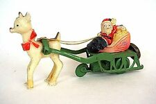Vintage Santa Claus on Sleigh Reindeer wind up Tin toy Bell Celluloid Japan*1010