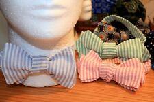 Handmade Bow Tie, Self Tie made from vintage Cotton fabric Seersucker BLUE