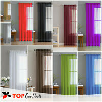 Slot Top Plain Voile Curtain Panel - White Black All Colours - Net & Voile