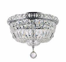 "4-Light Chrome Finish D 12"" x H9"" Empire Crystal Flush Mount Ceiling Light Round"