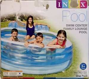 """Intex Swim Center Inflatable Family Lounge Pool 90"""" X 86"""" X 31"""" for Ages 3+ NIB"""