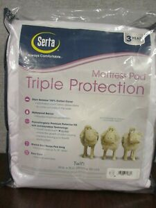 "Serta Triple Protection Mattress Pad-White -Twin 39"" x 75"" Deep 18in. Pocket NWT"
