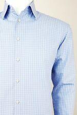 ARMANI COLLEZIONI Men Long Sleeve Formal Business Shirt Check Blue 39 15.5 M