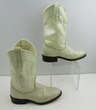 Ladies Laredo White Leather Round Toe Western Boots Size: 6 M