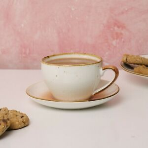 D&F Hola Hand Paint Glazed Cup and Saucer Set,Gift, Dishwasher Safe, Stoneware