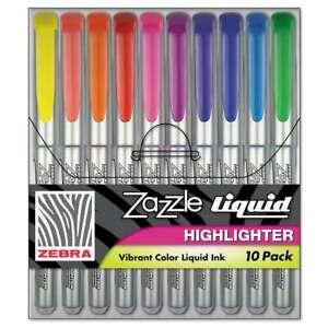 Zazzle Liquid Chisel Tip Highlighter 10/Pkg Assorted 045888711112