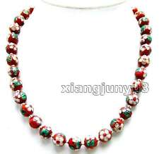 """12mm Red Round 20"""" Cloisonne Necklace for Women with Tibetan Silver Beads n5966"""