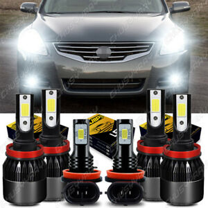 for 2007-2018 Nissan Altima Combo LED Headlight Hi/Low+Fog light bulbs Kit White
