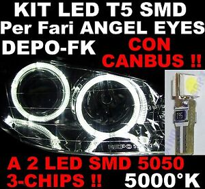 Lampadina LED T5 SMD 3-CHIPS BIANCO 5000K CANBUS per fari ANGEL EYES DEPO FK 12V