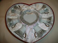 SILVER / GREY 12 PC HEART DEMITASSE SET CUPS EXCELLENT PORCELAIN CHINA IN BOX