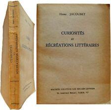 Curiosités et récréations littéraires 1943 Henri Jacoubet affaire Calas Rimbaud