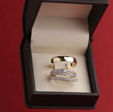 14k Yellow Gold Over Diamond His & Hers Bridal Ring Engagement Wedding Trio Set