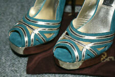 Luxury Rebel kimberley Stunning teal leather hi heel Shoe BNIB RRP £219 Size 3
