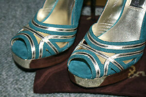 Luxury Rebel kimberley Stunning teal leather hi heel Shoe BNIB RRP £249 Size 3