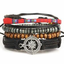Compass Rope and Leather Adjustable Unisex Charm Bracelet