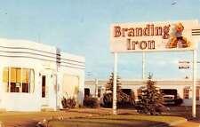 Laramie Wyoming Branding Iron Auto Lodge Street View Vintage Postcard K50771
