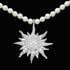 925 ECHT SILBER RHODINIERT *** Edelweiss Zirkonia Perlen Collier Kette 42 cm