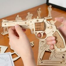 ROKR 3D Puzzle Revolver Wooden Gun Model Kits with Bullet Toy For Kids Boys Gift
