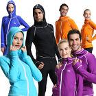 Unisex Long Sleeve Rash Guards Full Zip-Up Shirt Surf Swim Top Shirt With Hood