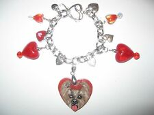 HAND PAINTED WOOD YORKSHIRE TERRIER CHARM BRACELET ASSORTED CHARMS *FREE SHIP*