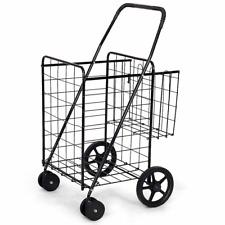 Foldable Utility Cart Jumbo Basket for Grocery Laundry Travel with Swivel Wheels