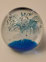 Murano Style Art Glass Blue White Lace Flower Controlled Bubble Paperweight